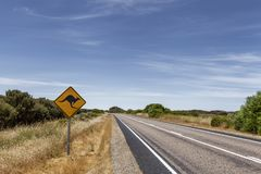 Outback australian famous iconic kangaroo motorway road sign. Empty road in Outback australian famous iconic kangaroo motorway road sign royalty free stock photography