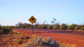 Outback Austrlalia Kangaroo road sing in the red center desert stock photos