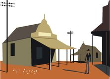 Outback buildings illustration. Illustration of Australian outback country town with old buildings Stock Photos