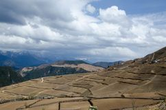 Outback countryside in China. Foreground have yellow field and background had mountain,small hut Stock Photography