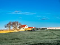 Outback field in Iceland. Outback field with colorful farm and small house in Iceland, under blue sky in winter season Stock Photography