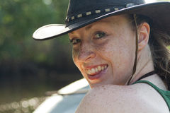 Outback Girl Closeup. Smiling freckled women in Australian outback hat stock images