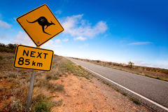 Outback Kangaroo Sign. Kangaroo warning sign on a road in the Australian outback.  Western New South Wales