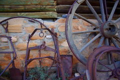 Outback Living. Photograph taken at Arkaroola Villiage featuring old farm equipment. Photograph taken during the Star Party 2008 event (Flinders Ranges, Outback royalty free stock images