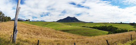 Outback mountain and field in the Scenic Rim, Queensland. Royalty Free Stock Photography