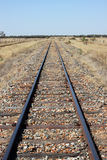 Outback Railway. Railway Lines running to the horizon in the Australian Outback stock photo