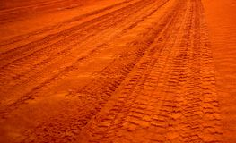 Outback Road. An outback road over red sand dunes in the remote Simpson Desert (Australia Stock Image