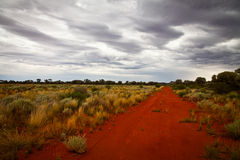 Outback Road. In Australia with a stormy sky Royalty Free Stock Photo