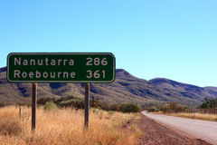 Outback road. Sign, road, rocks and blue sky stock photos
