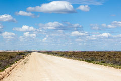Outback road. Remote New South Wales you can see for miles and roads are dead straight Stock Photo