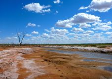 Outback salt lake. Drying salt lake in South West Queensland's Outback Royalty Free Stock Photos