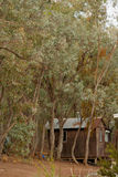 Outback shack. A small shack or shed out in the bush of Australia, could be a camping ground, exploration scene Royalty Free Stock Image