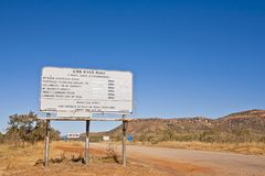 Outback Western Australia Sign Gibb River Road. Outback Western Australia, and the sign for the Gibb River Road, said to be one of the last great adventures Stock Photo