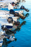Outboard engines on fishing boats Royalty Free Stock Photo