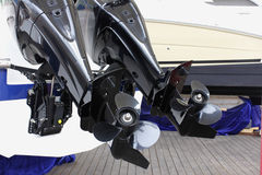 Outboard engines. Outboard motor boat engine propellers Royalty Free Stock Images