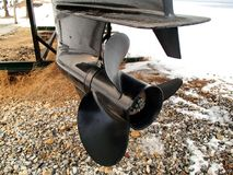 Outboard motor propeller. Mounted on the boat engine Stock Photography