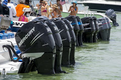Outboard motors. A row of powerful Outboard boat motors at a popular Sandbar in Miami, Florida Royalty Free Stock Images