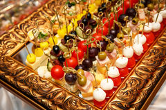 Outbound event catering - canapes, snacks on a mirrored tray Royalty Free Stock Image