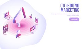 Outbound Marketing concept based landing page design, Isometric. Megaphone for advertisement and marketing equipment on abstract background vector illustration