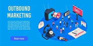 Outbound marketing isometric. Business market sales optimisation, corporate crm and social media ads communication. Or inbound marketing permission. Digital vector illustration