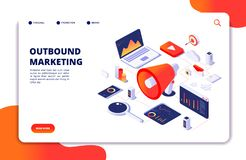 Outbound marketing. Seo pr roi crm online communication. Social media promotion landing vector webpage. Illustration of marketing optimization outbound stock illustration