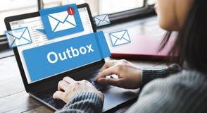 Outbox营业通讯信封邮件概念 免版税库存照片