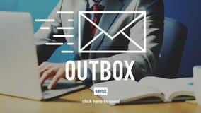Outbox begreppet för globala kommunikationer för Inbox Emailanslutning Arkivfoto