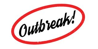 Outbreak rubber stamp. Grunge design with dust scratches. Effects can be easily removed for a clean, crisp look. Color is easily changed Royalty Free Stock Image