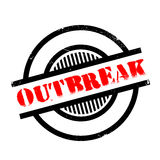 Outbreak rubber stamp. Grunge design with dust scratches. Effects can be easily removed for a clean, crisp look. Color is easily changed Stock Photo