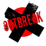 Outbreak rubber stamp. Grunge design with dust scratches. Effects can be easily removed for a clean, crisp look. Color is easily changed Stock Images