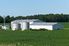 Outbuildings and Soybeans Stock Photo