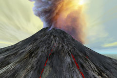 Outburst. An active volcano belches smoke and ash into the sky Royalty Free Stock Photography