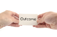 Outcome text concept. Isolated over white background Stock Photo