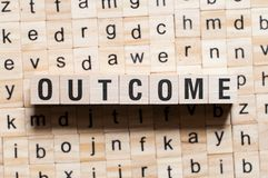 Outcome word concept stock photo