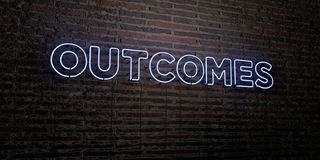 OUTCOMES -Realistic Neon Sign on Brick Wall background - 3D rendered royalty free stock image. Can be used for online banner ads and direct mailers Royalty Free Stock Photos