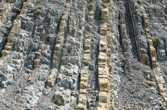 Exposure of vertically lying layers of mudstone and limestone. royalty free stock photography