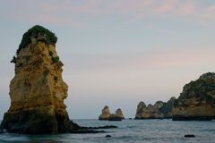 Outcrops at Praia Dona Ana Stock Photo