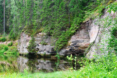 Outcrops of Taevaskoda on the Ahja river Royalty Free Stock Photography