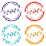 Outdated badge isolated on white background. Flat style round label with text. Circular emblem vector illustration Royalty Free Stock Image