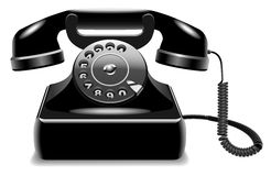 Outdated black telephone. Vector illustration of realistic outdated black telephone isolated on white background Stock Photos