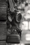 Outdated gasmask. On a wooden wall in black white Stock Photography
