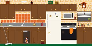 Outdated kitchen interior. Interior of an old dirty outdated kitchen before renovation, EPS 8 vector illustration Royalty Free Stock Photo
