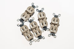 Outdated 2 prong electrical outlets (USA). 5 used and outdated electrical outlets royalty free stock photo