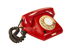 Outdated red phone Royalty Free Stock Image