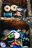 Outdated sewing kit Royalty Free Stock Photography