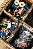 Outdated sewing kit Stock Photography