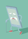 Outdated smartphone. Cartoon character flat vector illustration Stock Image