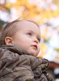 Outdoor. Face of baby in nature during fall Royalty Free Stock Photography