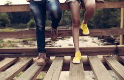 Outdoor activities couple hiking or travel stock photo