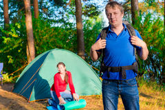 Outdoor activities. Family camping. Summer day royalty free stock images